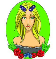blonde girl icon summer goddess with vector image