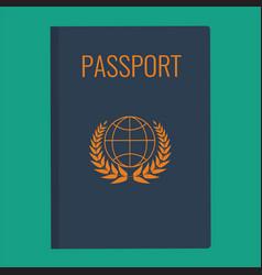 blue passport cover passport vector image
