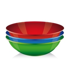 Bowl set - red blue green vector image