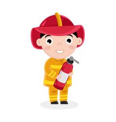 Boy in fireman uniform with fire extinguisher vector