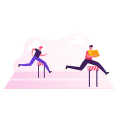 business people characters running competition vector image