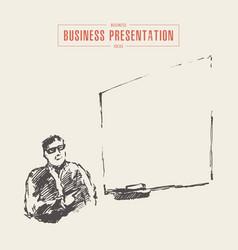 Business presentation man copyspace drawn vector