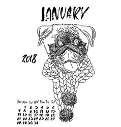 calendar with dry brush lettering january 2018 vector image