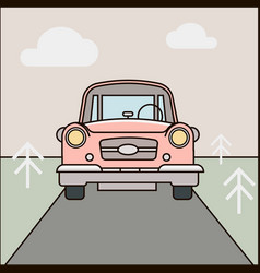 Car road cartoon forest landscape vector