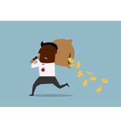 Cartoon businessman losing money from bag vector image