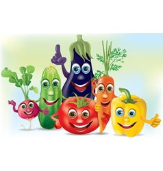 Cartoon company vegetables vector image
