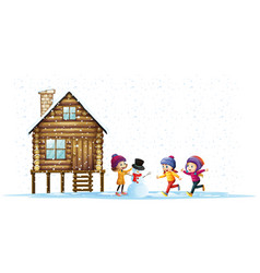 children playing in snow by the hut vector image