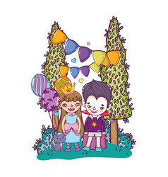 Children with costume to halloween party event vector
