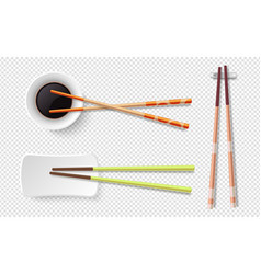 chopsticks colorful wooden sushi sticks plate vector image