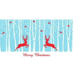 Christmas deers in birch tree forest vector