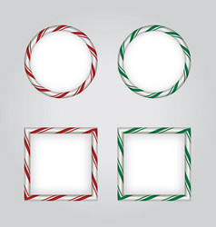 Christmas holiday candy cane borders vector