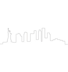 continous line skyline of new york vector image
