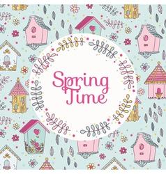 Cute Bird House Card - Spring Time vector image