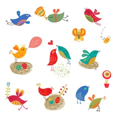 Cute birds set vector