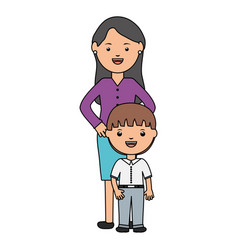 cute little student boy with female teacher vector image