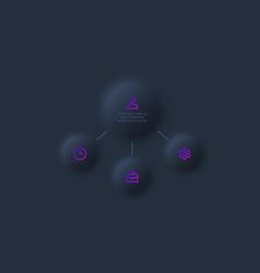 Dark neumorphic flow chart infographic template vector