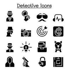 detective icon set graphic design vector image