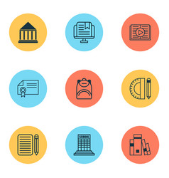 Education icons set with backpack school supplies vector