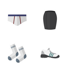 flat icon clothes set of sneakers foot textile vector image