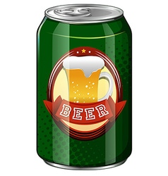 Fresh beer in green can vector