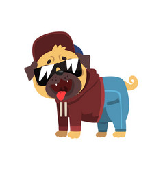 Funny pug dog character dressed as hiphop dancer vector