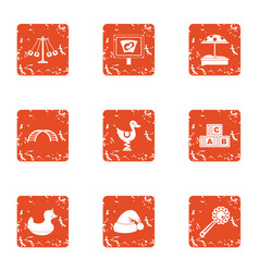 Game on avenue icons set grunge style vector