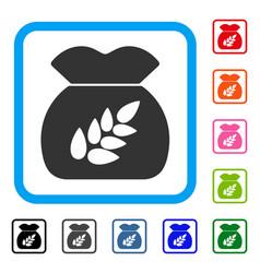 Grain harvest sack framed icon vector