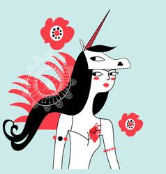 Graphic portrait unicorn girl vector