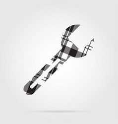 Grayscale tartan isolated icon - spanner vector