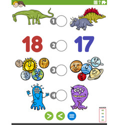 Greater less or equal game for children vector