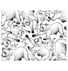 Hand drawn background autumn grizzly bears vector