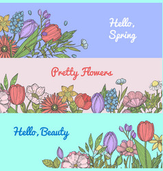 Hand drawn flowers web banner templates vector
