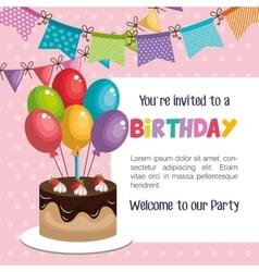 happy birthday invitation with sweet cake vector image