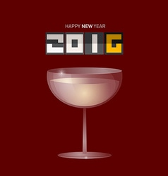 Happy New Year 2016 with Drink Glass vector image