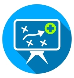 Health Strategy Screen Flat Round Icon with Long vector