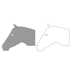 Horse head grey set icon vector