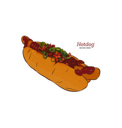 hot dog sketch drawing fast food vector image