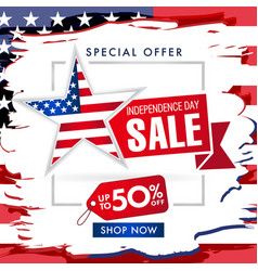 independence day usa fourth july sale banner vector image