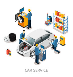 isometric car repair center concept vector image