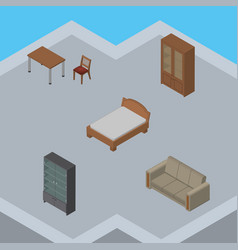 Isometric furnishing set of couch sideboard vector
