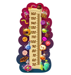 kids height chart halloween scroll with sweets vector image