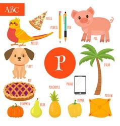 Letter P Cartoon alphabet for children Pear pig vector