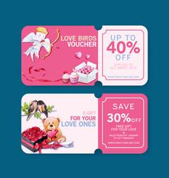 Love voucher design with cupid teddy bear vector