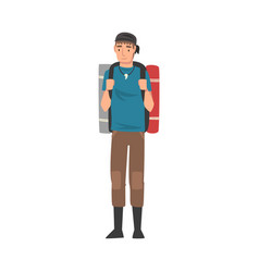 male tourist standing with backpack and mats vector image