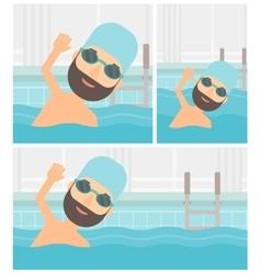 Man swimming in pool vector image