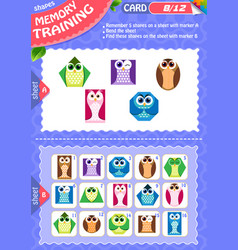 Memory game children shapes 8 vector