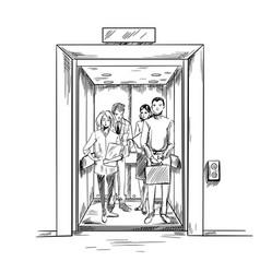 Men and women in elevator hand drawn vector