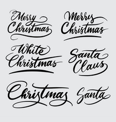 Merry christmas handwriting calligraphy vector