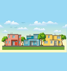 modern family housees with trees vector image