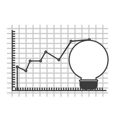 Monochrome silhouette of light bulb and financial vector